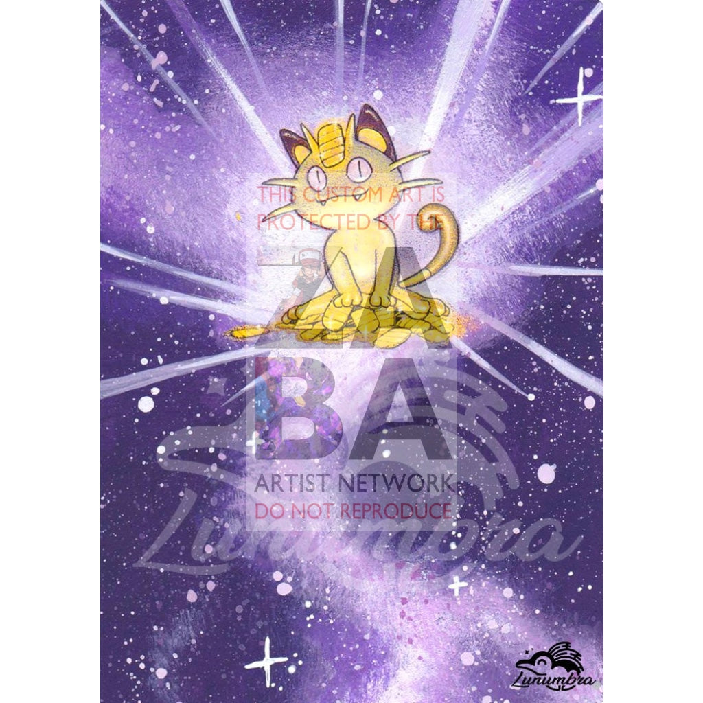 Meowth 56/64 Jungle Set Extended Art Custom Pokemon Card Textless Silver Holographic