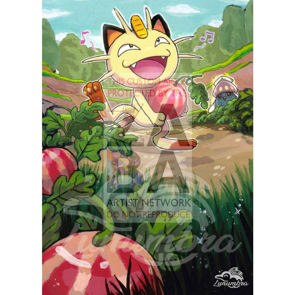 Meowth 67/108 Xy Roaring Skies Extended Art Custom Pokemon Card Textless Silver Holographic