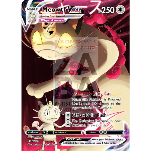 Meowth Vmax Custom Pokemon Card Silver Foil