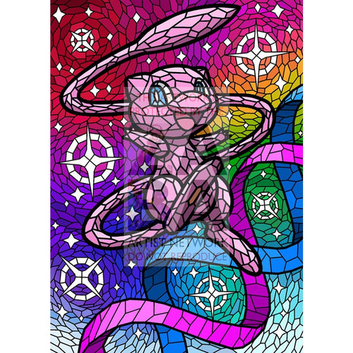 Mew 6X8 (~15-20Cm) Stained Glass Custom Pokemon Art Scenes Card