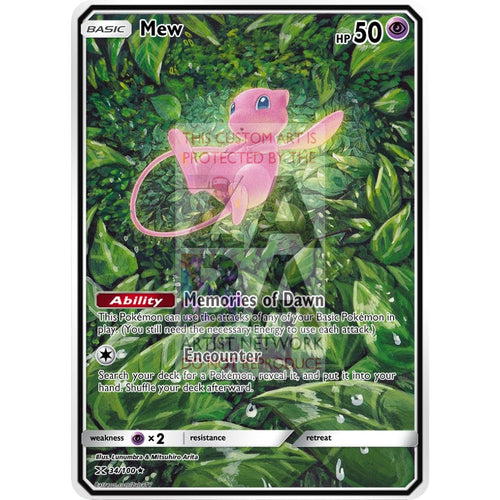 Mew Xy Fates Collide 29/124 Extended Art Custom Pokemon Card Non-Holographic
