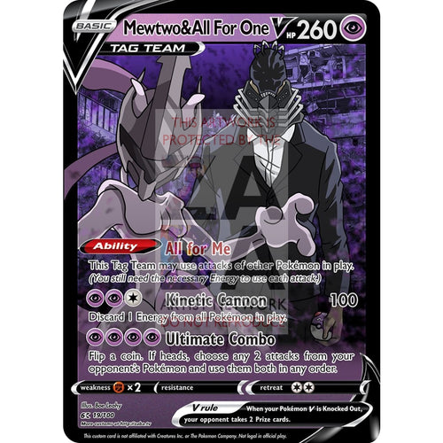 Mewtwo & All For One V Custom My Hero Academia X Pokemon Card Silver Foil