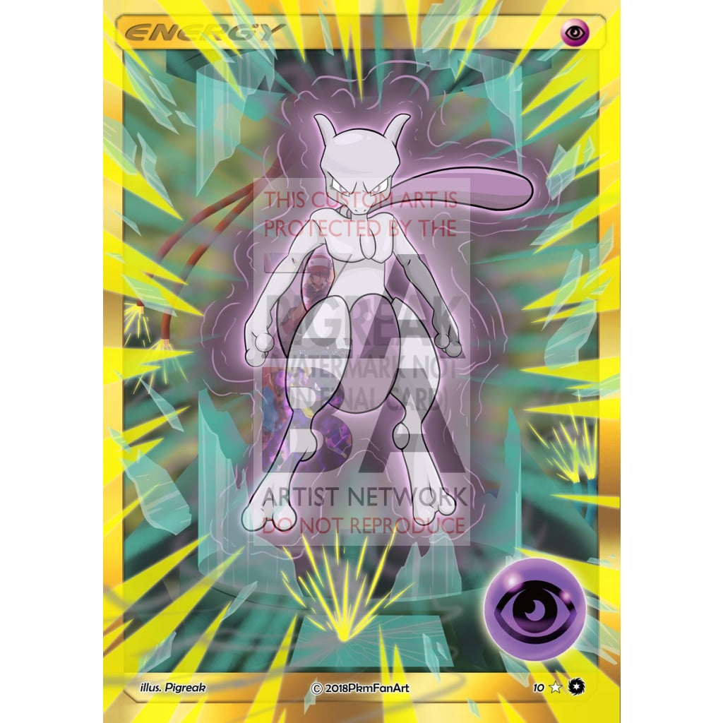 Mewtwo Psychic Energy Pigreak Custom Pokemon Card