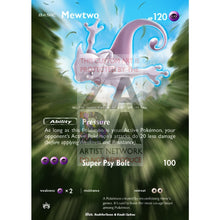 Mewtwo Sm77 Sun & Moon Promo Extended Art Custom Pokemon Card Silver Holographic