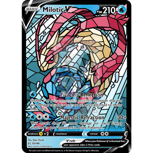 Milotic V (Stained-Glass) Custom Pokemon Card Silver Foil / Standard