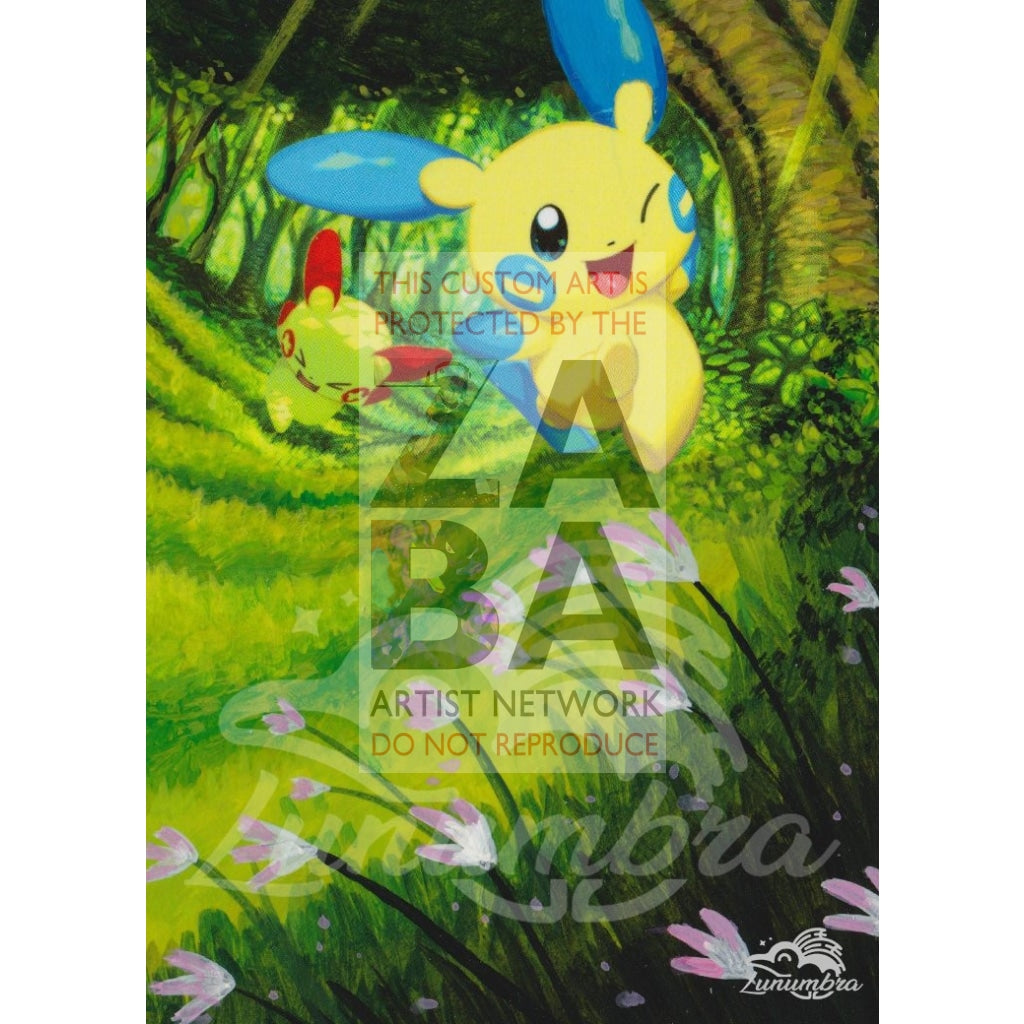Minun 34/73 Shining Legends Extended Art Custom Pokemon Card Textless Silver Holographic