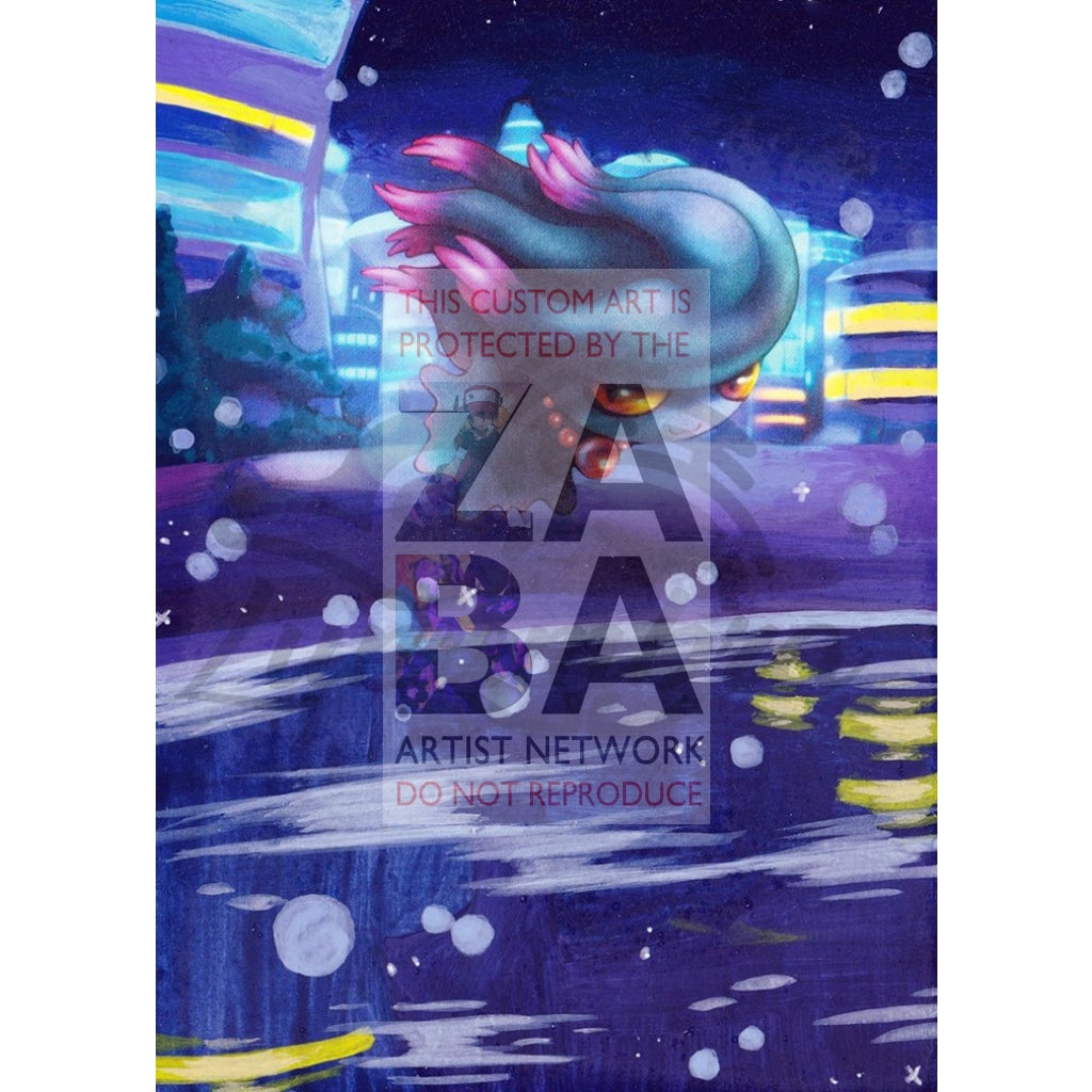 Misdreavus 65/162 Xy Breakthrough Extended Art Custom Pokemon Card Textless Silver Holographic