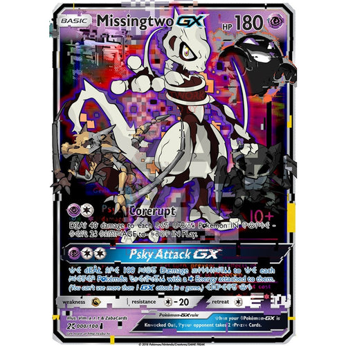 Missingtwo Gx (Missingno + Mewtwo) Custom Pokemon Card