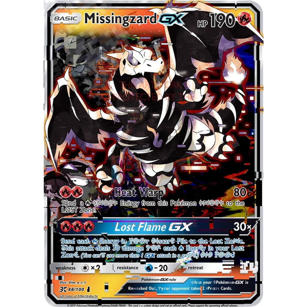 Missingzard Gx (Missingno + Charizard) Custom Pokemon Card Glitched