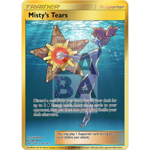 Mistys Tears Full Art Gold Custom Pokemon Card Silver Foil / With Text