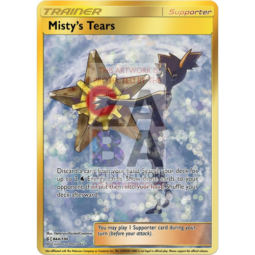 Mistys Tears V2 Full Art Gold Custom Pokemon Card Silver Foil / With Text