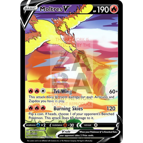 Moltres V Custom Pokemon Card Silver Foil