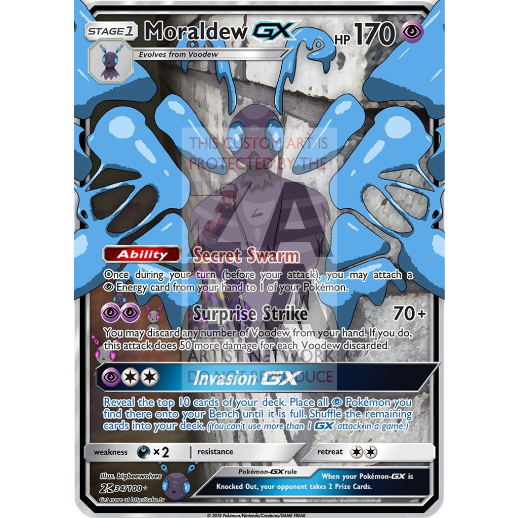 Moraldew Gx Custom Pokemon Card Silver Holographic