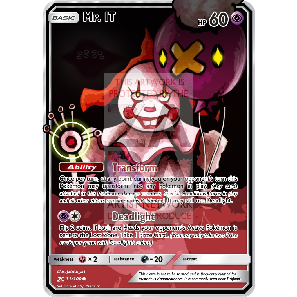 Mr. It Custom Pokemon Card Silver Holographic