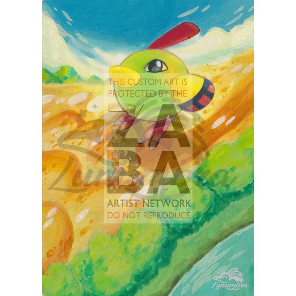 Natu 27/108 Xy Roaring Skies Extended Art Custom Pokemon Card Textless Silver Holographic