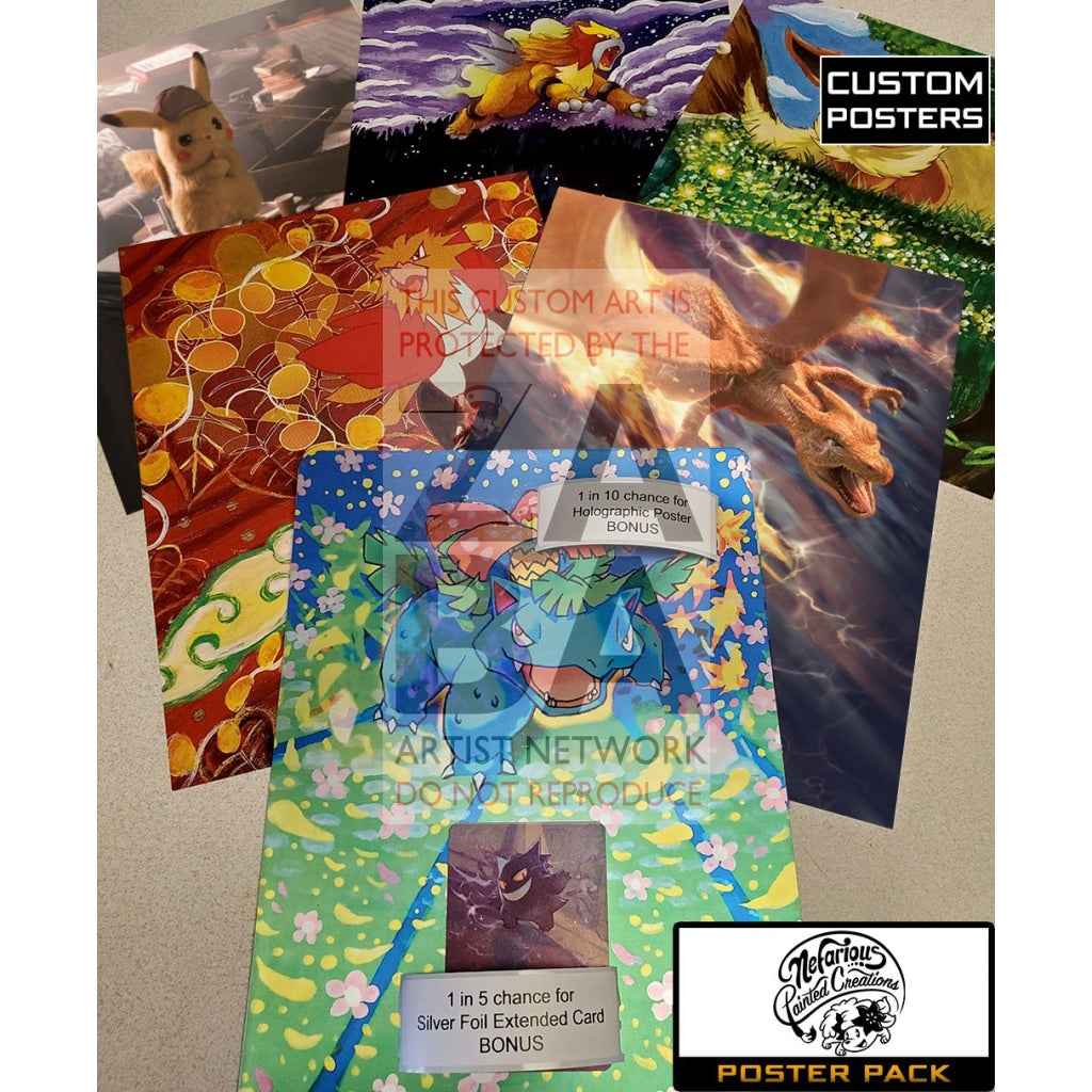 Nefarious Painted Creations Poster Pack - 8X10.5 Posters + Bonus Potential Custom Pokemon Card