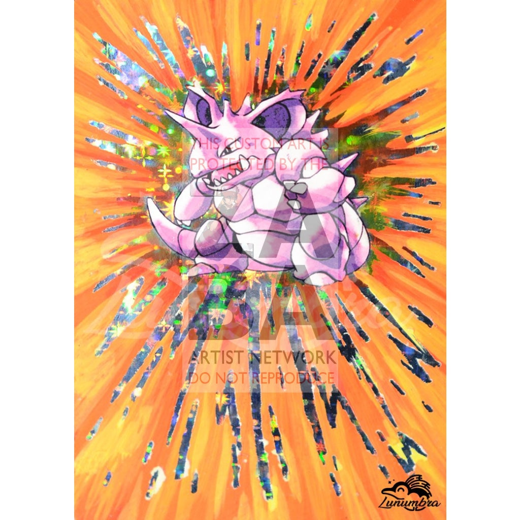 Nidoking 11/102 Base Set Extended Art Custom Pokemon Card Textless Silver Holographic
