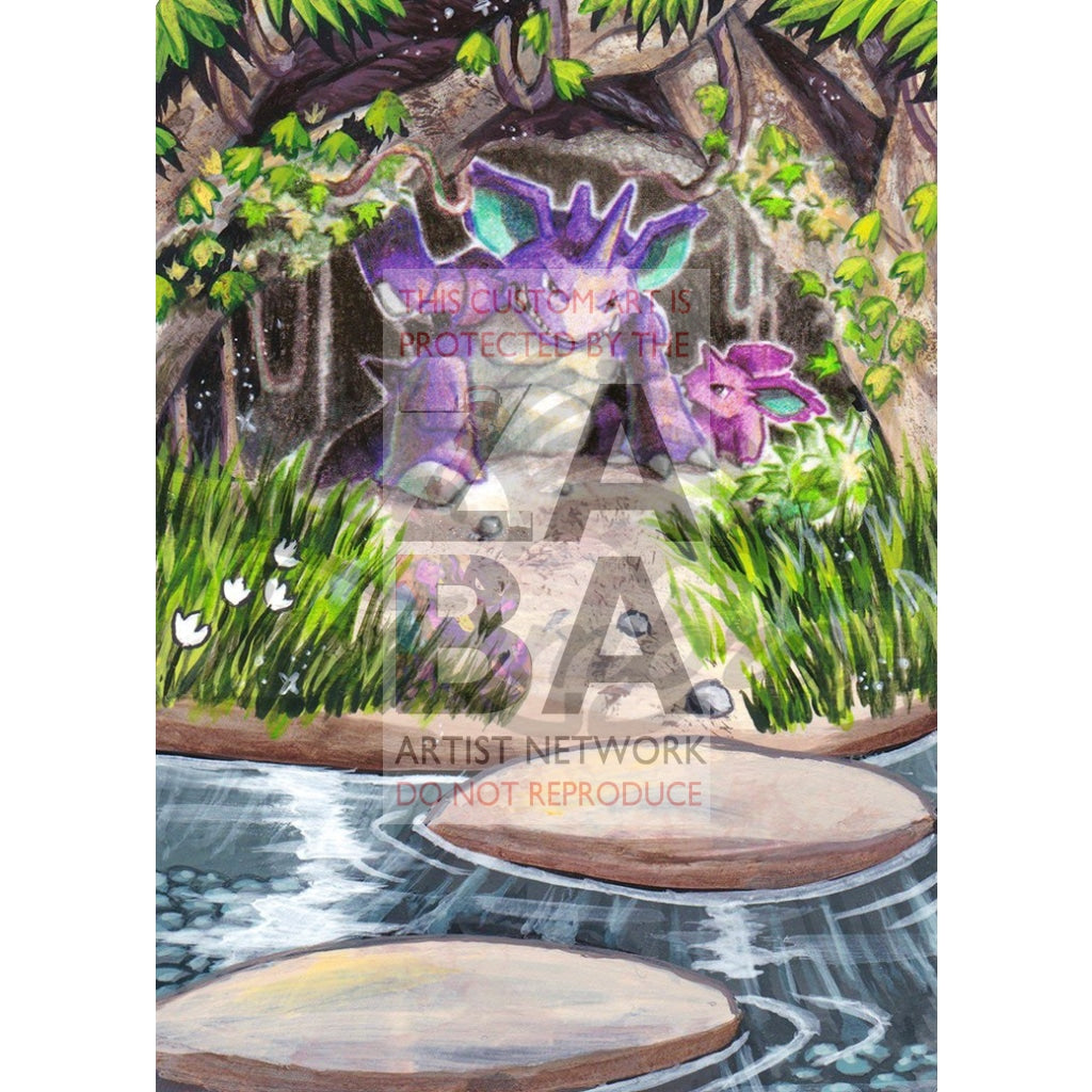 Nidoking 45/114 Xy Steam Siege Extended Art Custom Pokemon Card Textless Silver Holographic