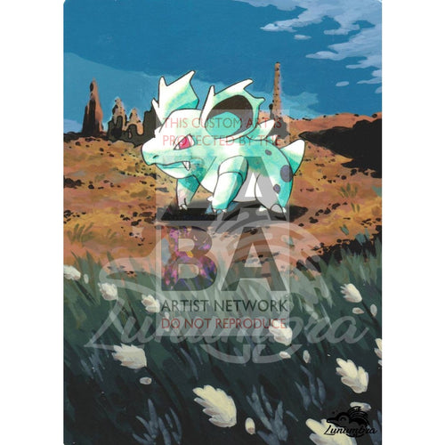 Nidorina 40/64 Jungle Extended Art Custom Pokemon Card Textless Silver Holographic