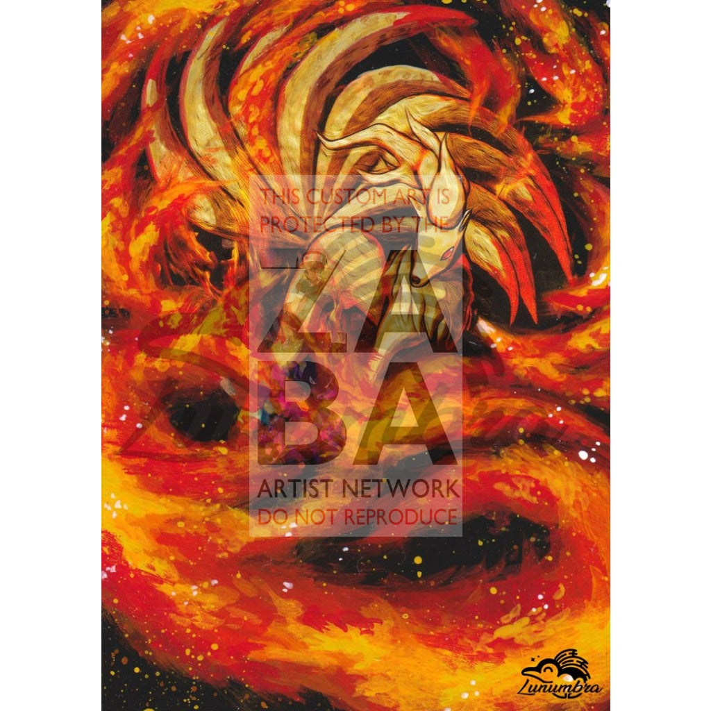 Ninetales 21/113 Legendary Treasures Extended Art Custom Pokemon Card Textless Silver Holographic