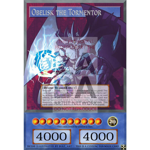 Obelisk The Tormentor Full Art Orica - Custom Yu-Gi-Oh! Card Silver Foil