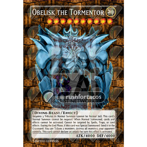 Obelisk The Tormentor Full Art Orica - Custom Yu-Gi-Oh! Card Silver Holographic