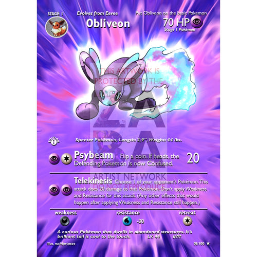 Obliveon (Eeveelution) Custom Pokemon Card Extended Plus Text