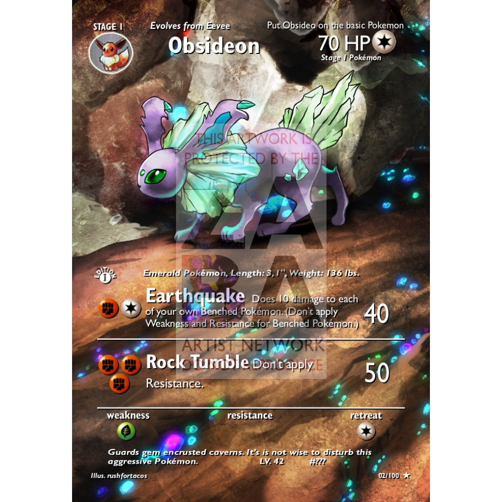 Obsideon (Eeveelution) Custom Pokemon Card Extended Plus Text