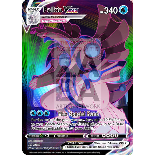 Palkia Vmax Custom Pokemon Card Silver Foil