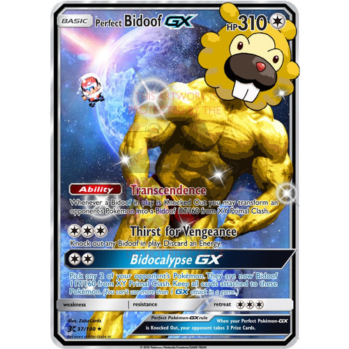 Perfect Bidoof Gx (Inspired By Pokemon Rusty) Custom Card