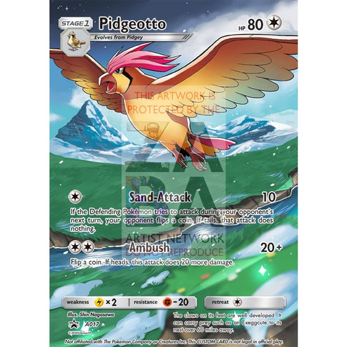 Pidgeotto 76/106 Flashfire Extended Art Custom Pokemon Card Silver Foil / Text
