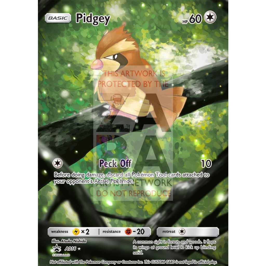 Pidgey 75/106 Flashfire Extended Art Custom Pokemon Card Silver Foil / Text