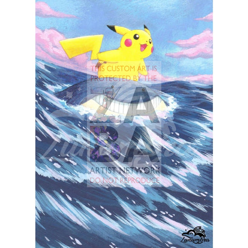 Pikachu 12/17 Pop Series 5 Extended Art Custom Pokemon Card Textless Silver Holographic