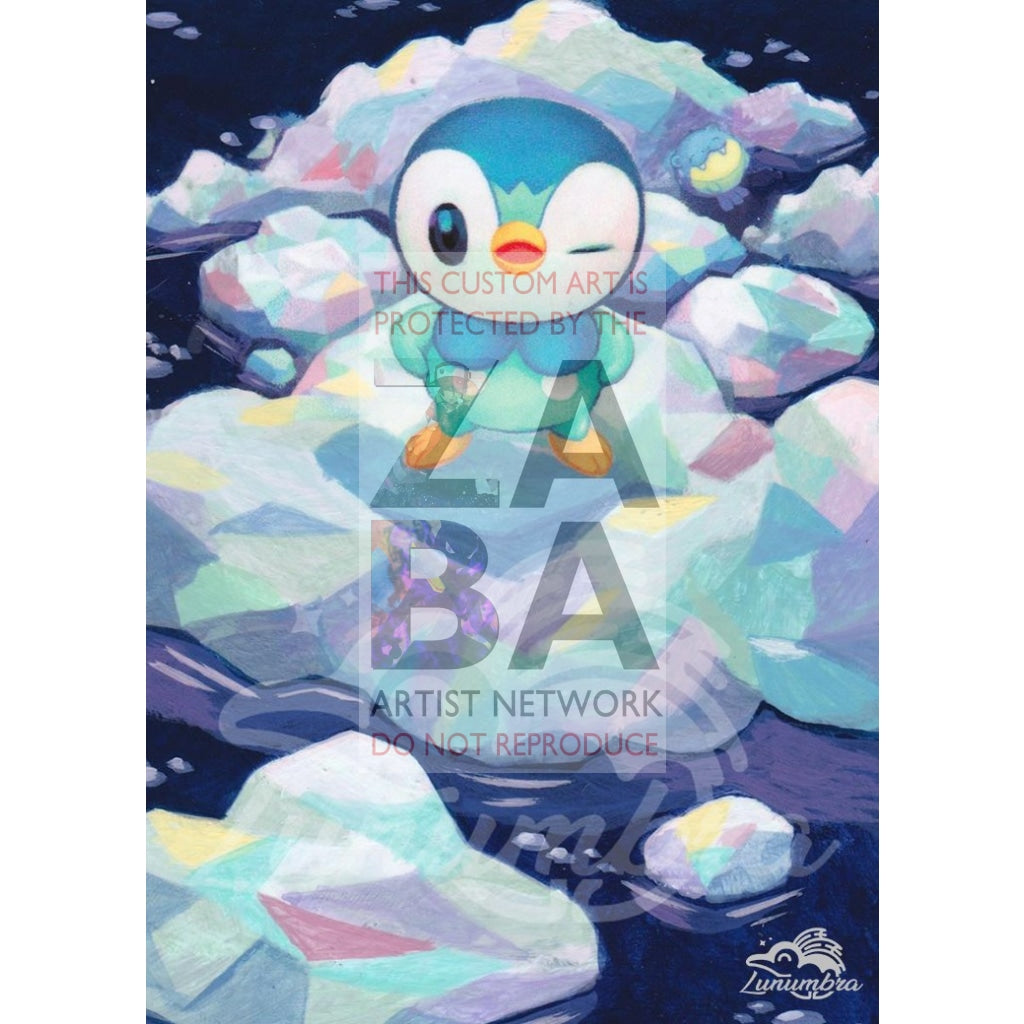 Piplup 32/156 Ultra Prism Extended Art Custom Pokemon Card Textless Silver Holographic