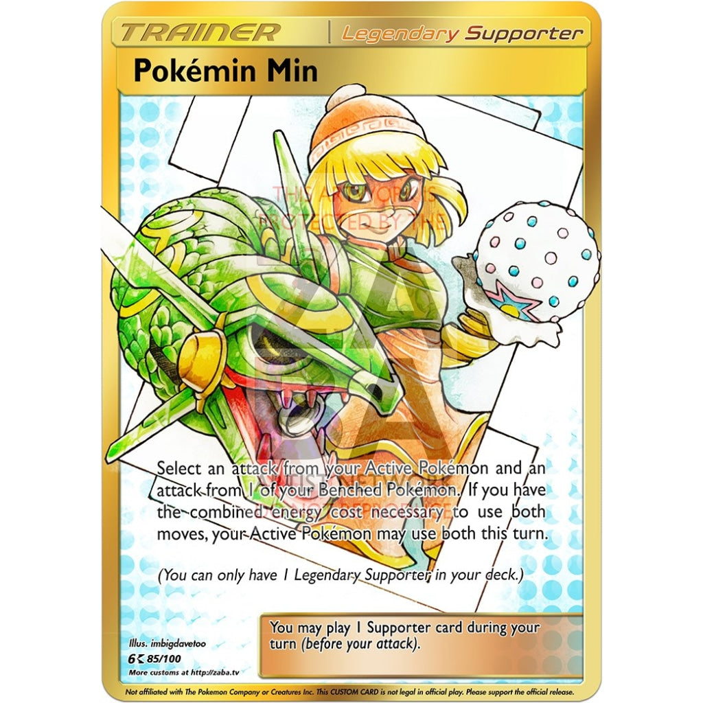 Pokemin Min Custom Legendary Supporter Pokemon Card Silver Foil / With Text