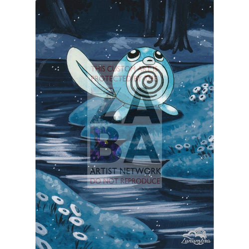 Poliwag 59/102 Base Set Extended Art Custom Pokemon Card Textless Silver Holographic