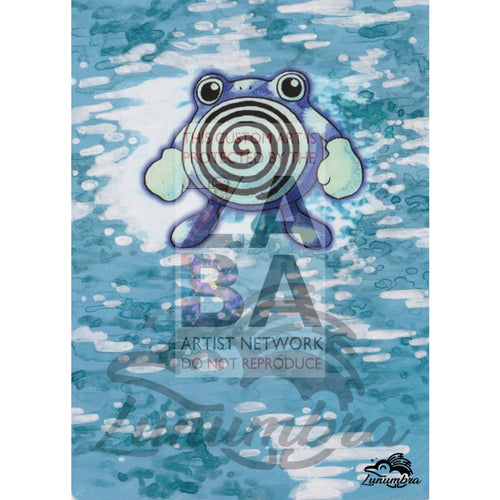 Poliwhirl 38/102 Base Set Extended Art Custom Pokemon Card Textless Silver Holographic