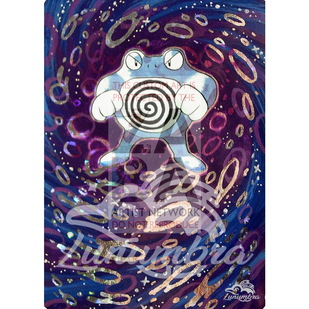 Poliwrath 13/102 Base Set Extended Art Custom Pokemon Card Textless Silver Holographic