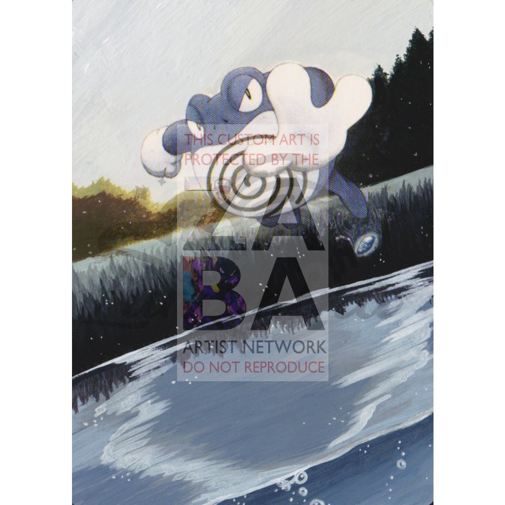 Poliwrath 21/96 Hs Unleashed Extended Art Custom Pokemon Card Textless Silver Holographic