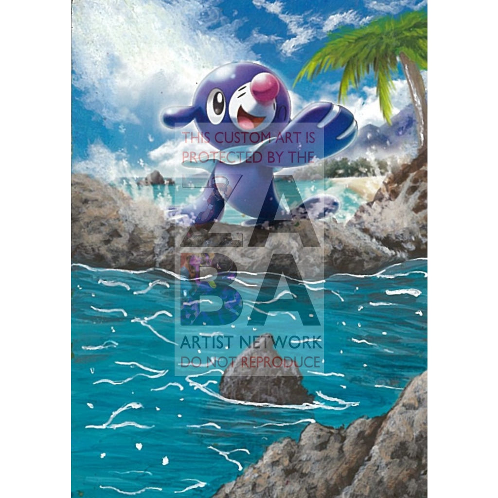 Popplio 39/149 Sun & Moon Extended Art Custom Pokemon Card Textless Silver Holographic