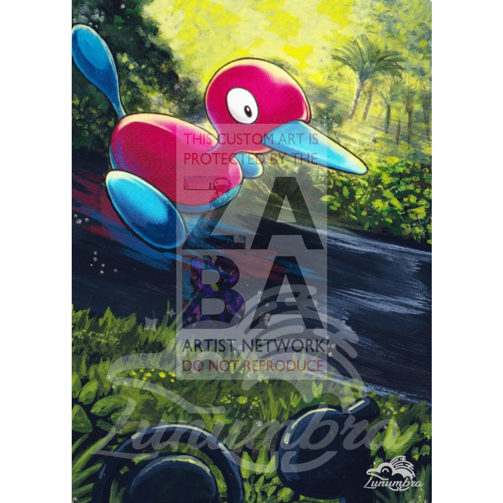 Porygon2 104/147 Burning Shadows Extended Art Custom Pokemon Card Textless Silver Holographic
