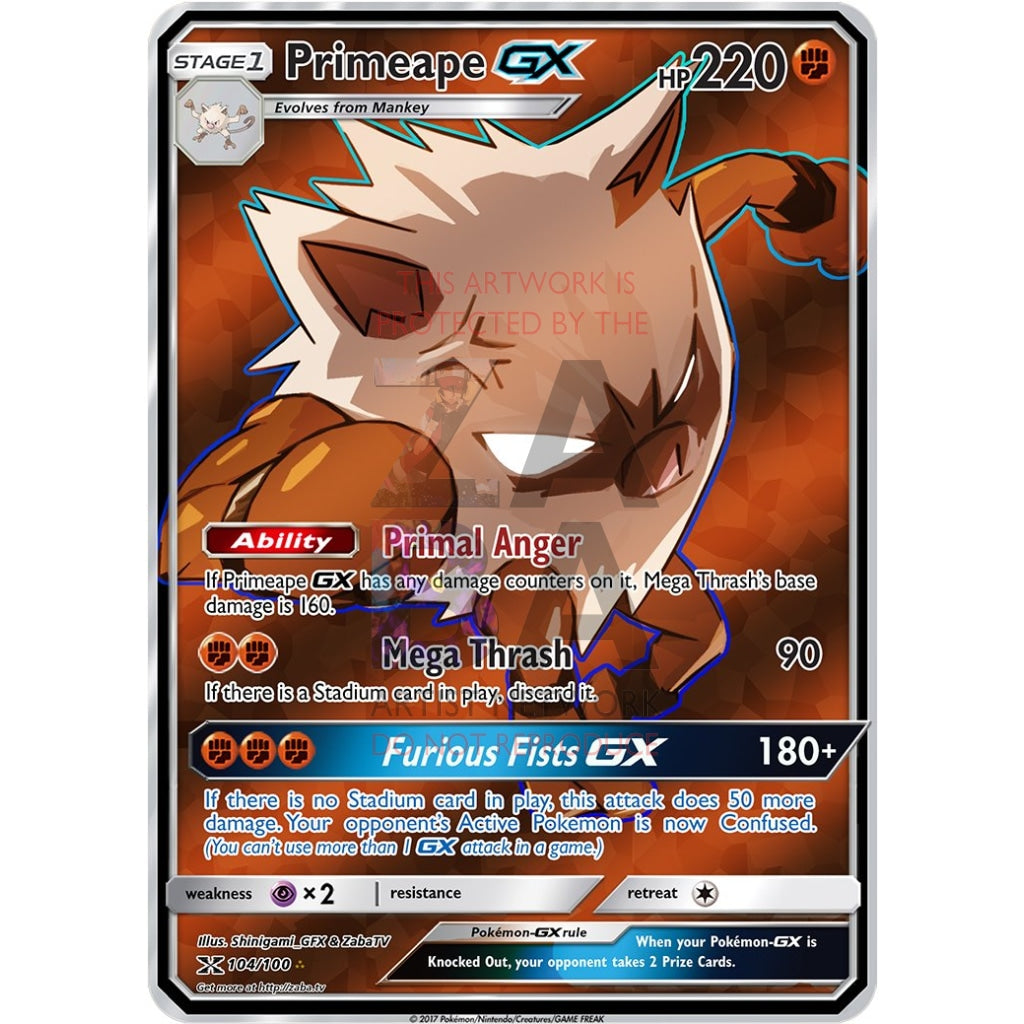 Primeape Gx Full Art Custom Pokemon Card