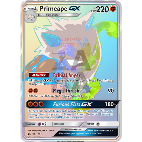 Primeape Gx Rainbow Rare Custom Pokemon Card
