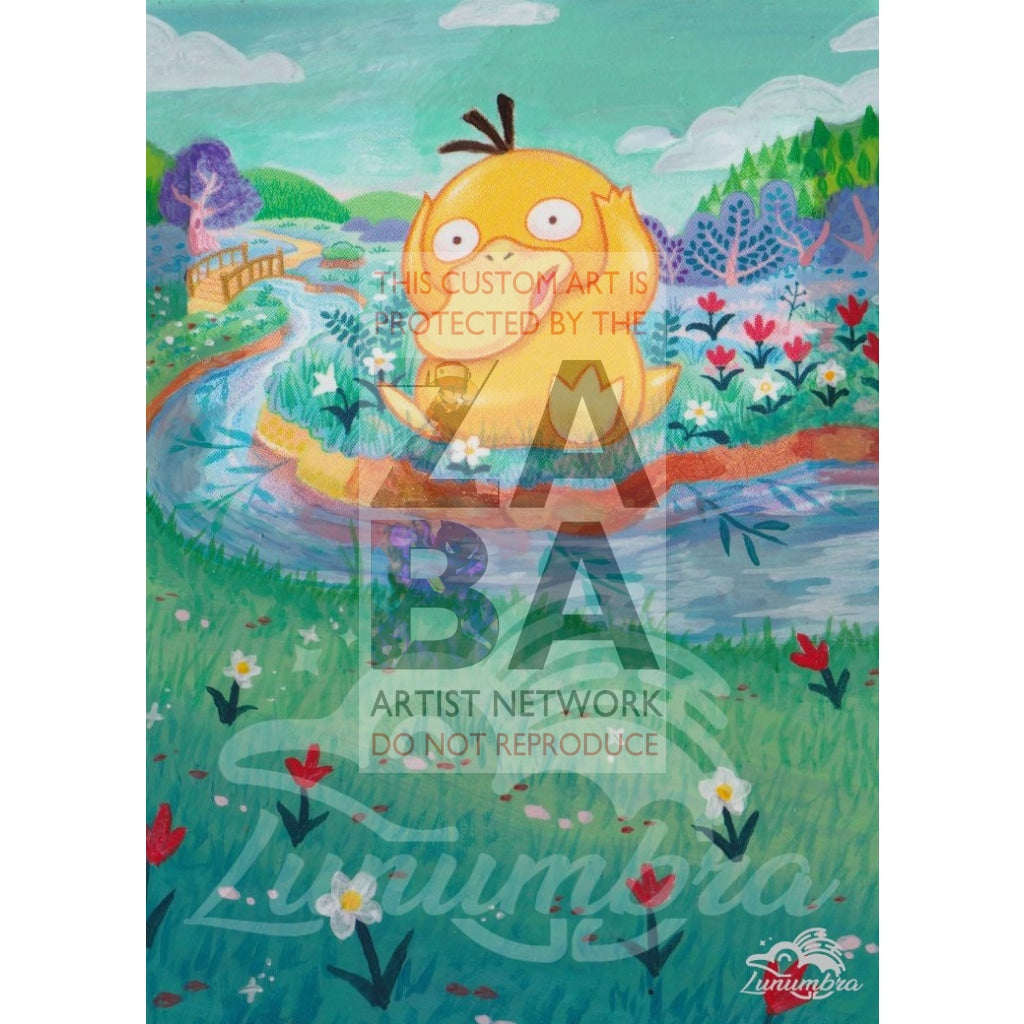 Psyduck 28/149 Sun & Moon Extended Art Custom Pokemon Card Textless Silver Holographic