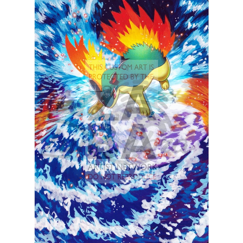 Quilava 19/162 Xy Breakthrough Extended Art Custom Pokemon Card Textless Silver Holographic