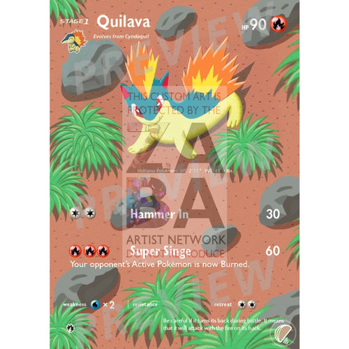 Quilava 41/214 Lost Thunder Extended Art Custom Pokemon Card With Text Silver Foil