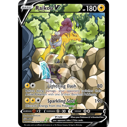 Raikou V Custom Pokemon Card Silver Foil