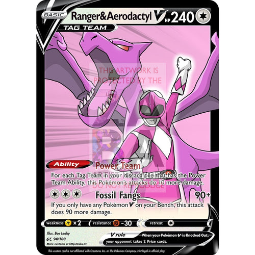 Ranger & Aerodactyl V Custom Pokemon Card Silver Foil / With Text