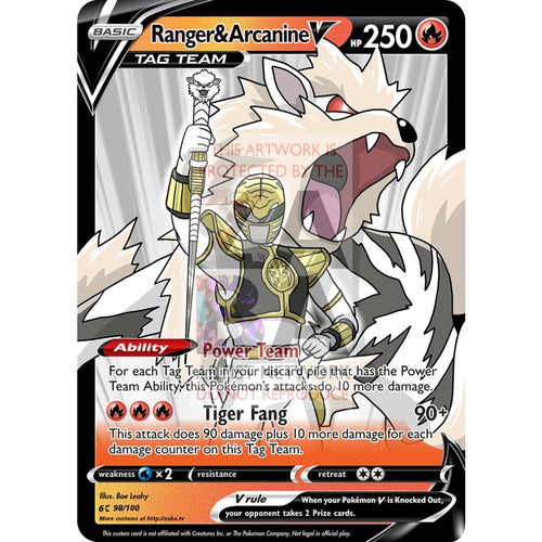 Ranger & Arcanine V Custom Pokemon Card Silver Foil / With Text