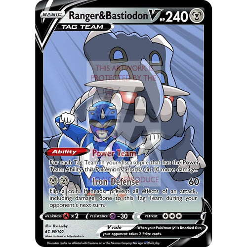 Ranger & Bastiodon V Custom Pokemon Card Silver Foil / With Text